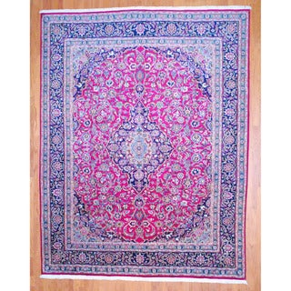 Persian Hand-knotted Mashad Red/ Navy Wool Rug (9'10 x 12'7)