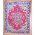 Antique Persian Hand-knotted 1960's Tabriz Red/ Navy Wool Rug (10' x 12'6)