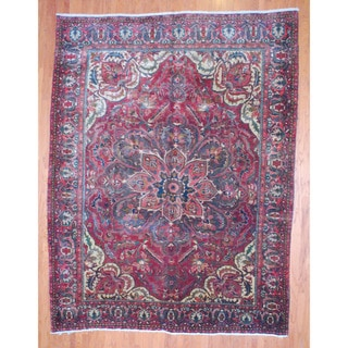 Antique Persian Hand-knotted 1960'sTribal Heriz Burgundy/ Brown Wool Rug (10' x 13')