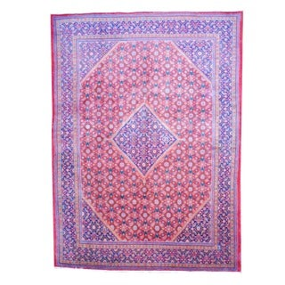Herat Oriental Antique Persian Hand-knotted 1960s Tribal Mahal Red/ Navy Wool Rug (9'8 x 13')