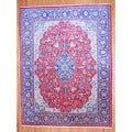 Persian Hand-knotted 1960's Tribal Mahal Red/ Navy Wool Rug (10' x 13')