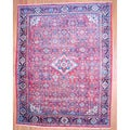 Antique Persian Hand-knotted 1950's Mahal Red/ Navy Wool Rug (10'4 x 13'3)
