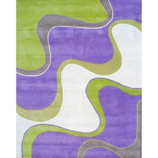 Indo Hand-tufted Lavender/ Green Wool Rug (8' x 10')