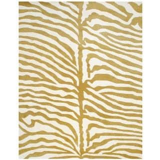 Herat Oriental Indo Hand-tufted Tibetan Ivory/ Gold Wool Area Rug (8' x 10')