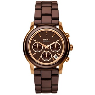 DKNY Women's Brown/ Rose-gold Ceramic Watch