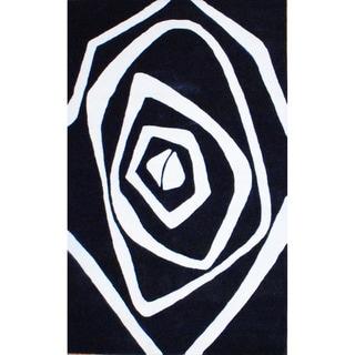 Indo Hand-Tufted Black/Ivory Geometric Wool Rug (5' x 8')