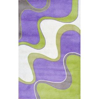 Herat Oriental Indo Hand-tufted Lavender/ Green Tibetan Wool Rug (5' x 8')