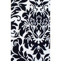 Contemporary Indo Hand-Tufted Black/Ivory Wool Rug (5' x 8')