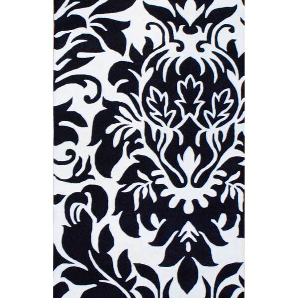 Herat Oriental Contemporary Indo Tibetan Hand-Tufted Black/ Ivory Wool Rug (5' x 8')