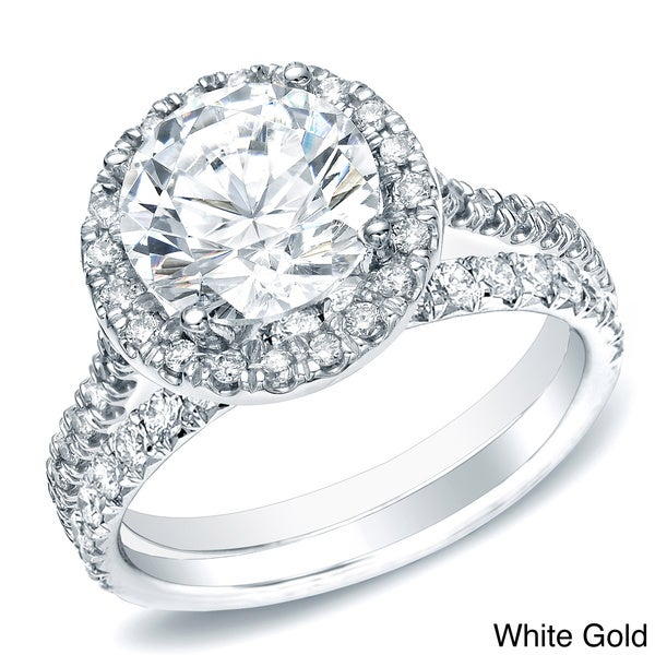 Auriya 14k Gold 1ct TDW Round Diamond Bridal Set (H-I, SI1-SI2)