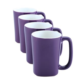 Rachael Ray Purple Round and Square 14-ounce Mugs (Pack of 4)