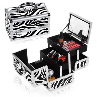 Shany Cosmetics Zebra Makeup Train Case with Mirror