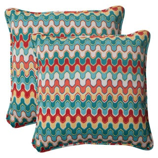 Pillow Perfect Outdoor Blue Nivala Corded 18.5-inch Throw Pillows (Set of 2)