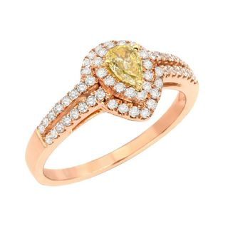 18k Rose Gold 5/8ct TDW Yellow and White Diamond Ring (G-H, SI1-SI2)