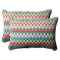 Pillow Perfect Outdoor Blue Nivala Corded Oversized Rectangular Throw Pillows (Set of 2)