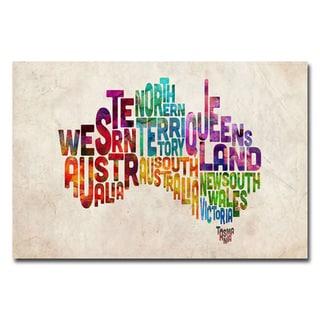 Michael Tompsett 'Australia States Text Map' Canvas Art