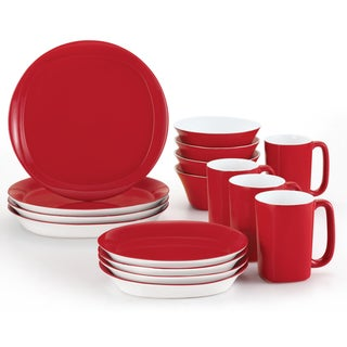 Rachael Ray Round & Square Red 16-Piece Place Setting