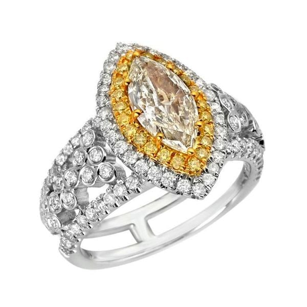 18k Two-tone Gold 2 1/5ct TDW Yellow and White Diamond Ring (G-H, VS1-VS2)
