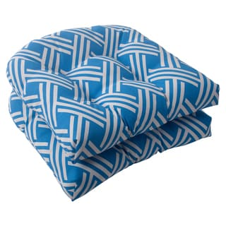 Pillow Perfect Carib Polyester Blue Wicker Outdoor Seat Cushions (Set of 2)