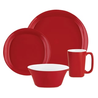 Rachael Ray Round & Square Red 4-Piece Place Setting