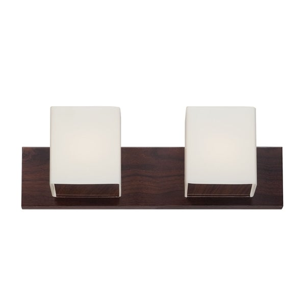 Alternating Current FeeFiFaux 2-light Brown Wood-tone Vanity Fixture