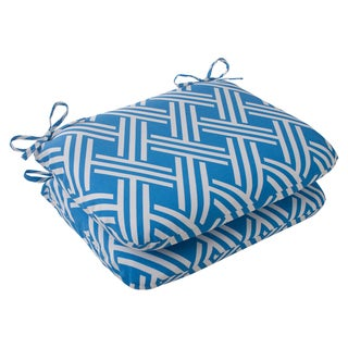 Pillow Perfect Blue Outdoor Carib Rounded Seat Cushion (Set of 2)