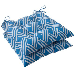 Pillow Perfect Blue Outdoor Carib Tufted Seat Cushion in Blue (Set of 2)