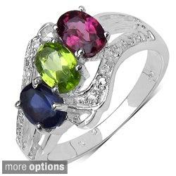 Sterling Silver Multi-gemstone or Tanzanite/ Diamond Ring