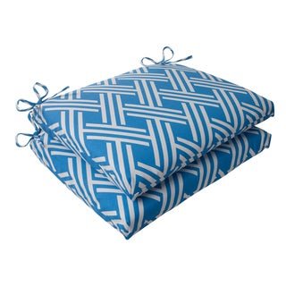 Pillow Perfect Blue Outdoor Carib Squared Seat Cushion (Set of 2)