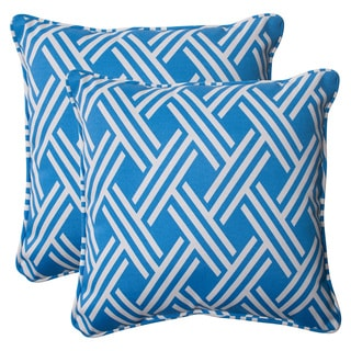 Pillow Perfect Blue Outdoor Carib Corded 18.5-inch Throw Pillow (Set of 2)