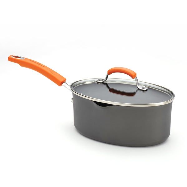 Rachael Ray Hard-anodized Nonstick 3-quart Grey with Orange Handles Covered Oval Saucepan 10787632