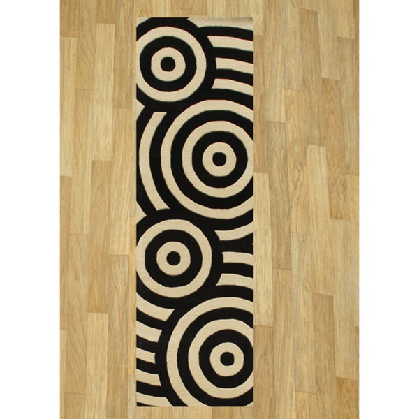 Alliyah Handmade Black New Zealand Blend Wool Rug 3x10