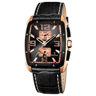 Festina Men's Black Leather Black Dial Quartz Watch