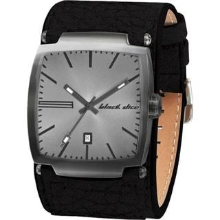 Black Dice Men's Flow Black Leather Grey Dial Quartz Watch
