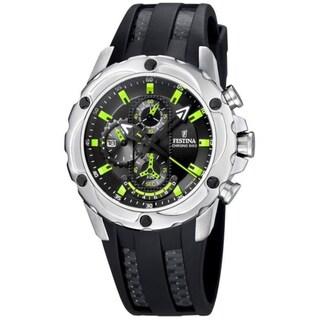 Festina Men's Black/ Green Stainless Steel Watch