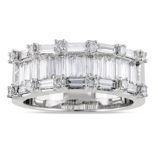 Miadora 18k White Gold 1 1/2ct TDW Baguette-Cut Diamond Ring (H-I, I2-I3)