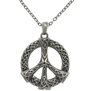 Carolina Glamour Collection Pewter Alloy Celtic Peace Sign Necklace