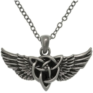 CGC Pewter Alloy Winged Celtic Knot Necklace
