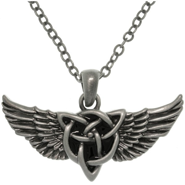 Pewter Alloy Winged Celtic Knot Necklace 10787870