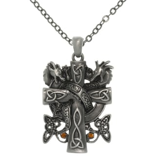 Carolina Glamour Collection Pewter Alloy Celtic Dragon Cross Necklace