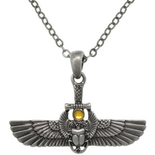 Carolina Glamour Collection Pewter Alloy Egyptian Winged Scarab Necklace