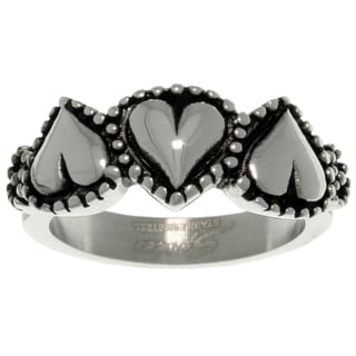 CGC Stainless Steel Three Heart Ring