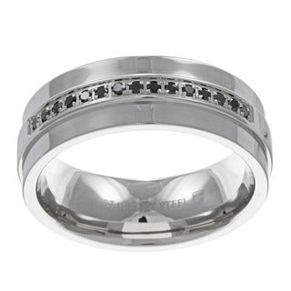 High-Polish Stainless-Steel Men's 1/6ct TDW Black Diamond Band