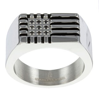 Stainless Steel Men's Black Diamond Accent Ring