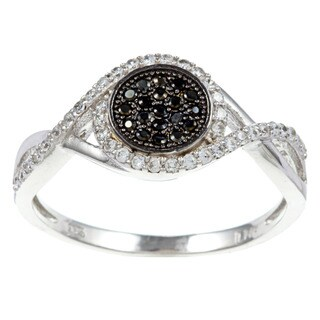 La Preciosa Sterling Silver Black and White Cubic Zirconia Round Ring