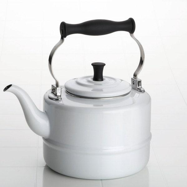 BonJour White Enamel 2-quart Tea Kettle