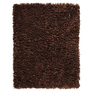 Modern Chocolate Paper Shag Rug (3&#39; x 5&#39;)