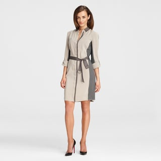 Maggy Boutique Women's Two-tone Collared Sheath Shirtdess