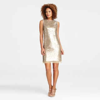 Maggy Boutique Women's Taupe Sequin-embellished Sleeveless Sheath Dress