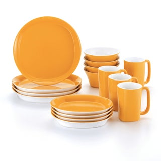 Rachael Ray 16-Piece Lemon Zest Dinnerware Set